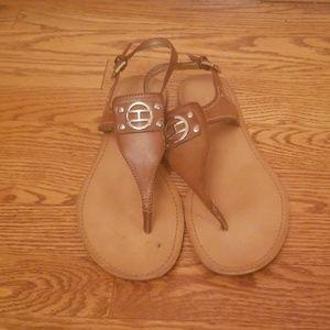Tommy Hilfiger brown leather sandals 10